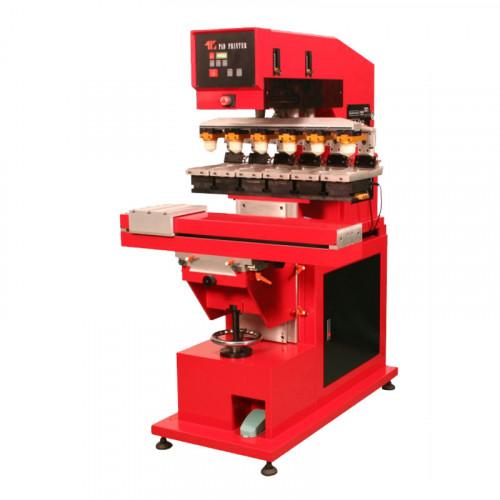 TIC-198SD/SCD - шестикрасочный напольный пневмоэлектрический тампонный станок